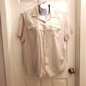 Karen Scott Woman camp shirt style blouse s/s crea